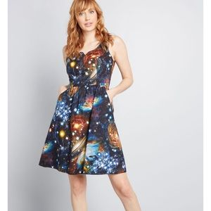 ModCloth Heart and Solar System A Line Dress